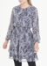 Picture of Navy Long Sleeve Paisley Chiffon Dress